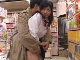 ロングコートの変態に痴漢されて書店で全裸にされてしまう女子校生