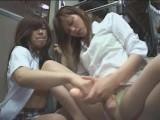 バスで帰宅中の女子校生をペニバンでレズ痴漢するOL