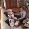 ソファで開脚させられた女子校生二人は変態男からバイブを突っ込まれる
