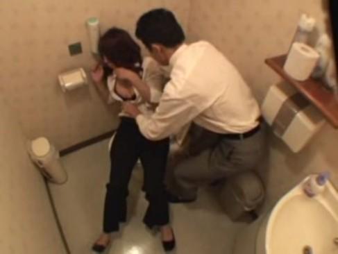トイレで酔っぱらいOLを介抱するフリをして中出しレイプする鬼畜サラリーマン