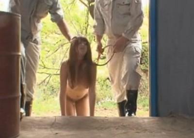 ペットにした巨乳な性奴隷を家畜小屋で中出し調教レイプしよう!