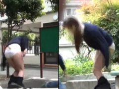 道行く女子校生のスカートをズリ下げて猛ダッシュで逃げるwwww